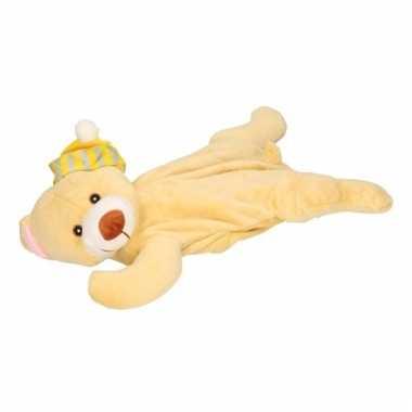 Knuffel kruik beige beer slaapmuts