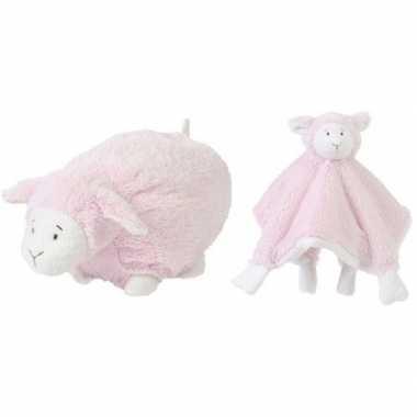Kraamcadeau schaapjes lammetjes ivoor roze happy horse knuffeldoekje liggende knuffel