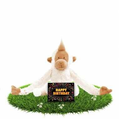 Verjaardagscadeau knuffel slingeraap gratis wenskaart