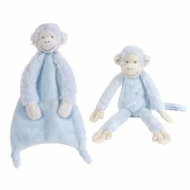 X stuks happy horse aapjes blauw tuttel knuffel mickey